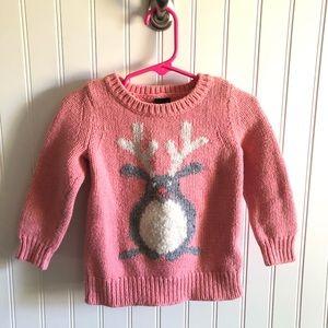 Baby Gap Pink Wool Blend Sweater Rabbit Reindeer